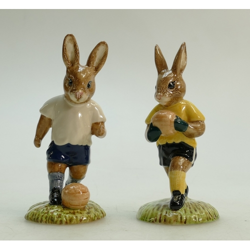 5 - Royal Doulton pair of Bunnykins footballer figures: Royal Doulton Bunnykins footballer figures Footb...