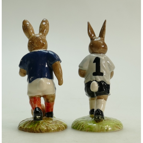 6 - Royal Doulton pair of Bunnykins footballer figures: Royal Doulton Bunnykins footballer figures Footb...