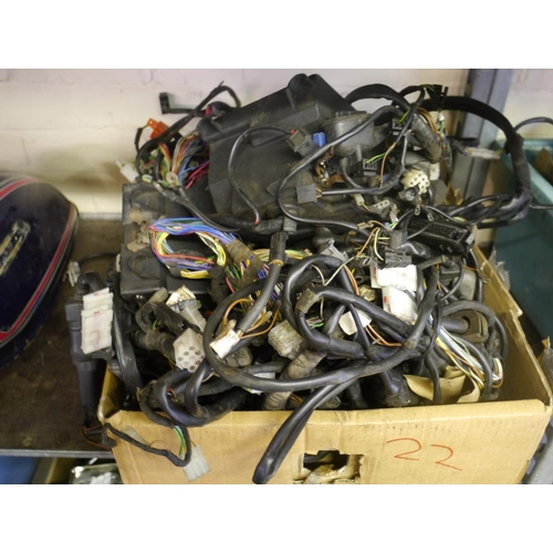 22 - Box of electrical motorcycle components...