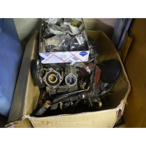 24 - Box of motorcycle auto jumble...