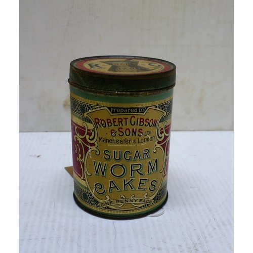 17 - Early Robert Gibson and Sons sugar worm cakes tin...