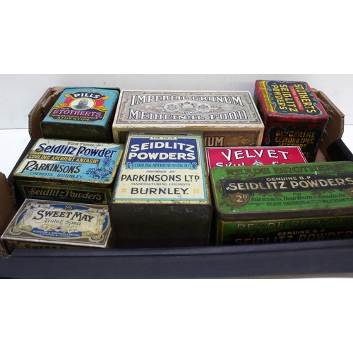21 - Quantity of old Seidlitz powder tins and soap packets...