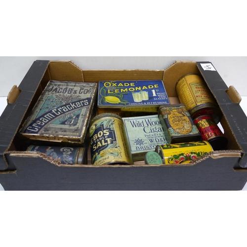 29 - Quantity of old tins. Cerebos salt, oxade lemonade etc....