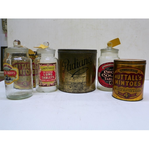 9 - 3 Glass sweet jars with labels, a large Radiance toffee tin and Nutalls mintos tins...