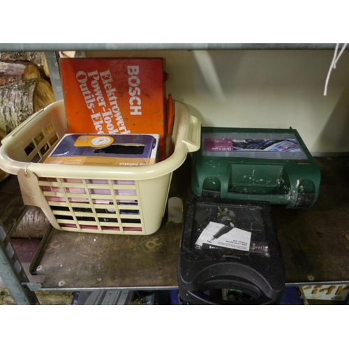 336 - Drill case, tool set, tyre inflators and pump...