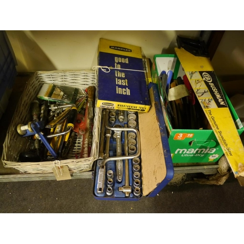 338 - Socket set, hand tools and saws to include Marples chisel set...