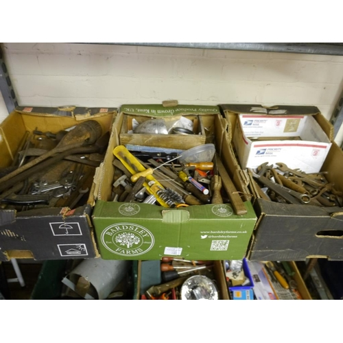 346 - 3 Boxes of hand tools and spanners...