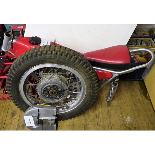 14 - Bultaco frame, tank, swinging arm and wheel...