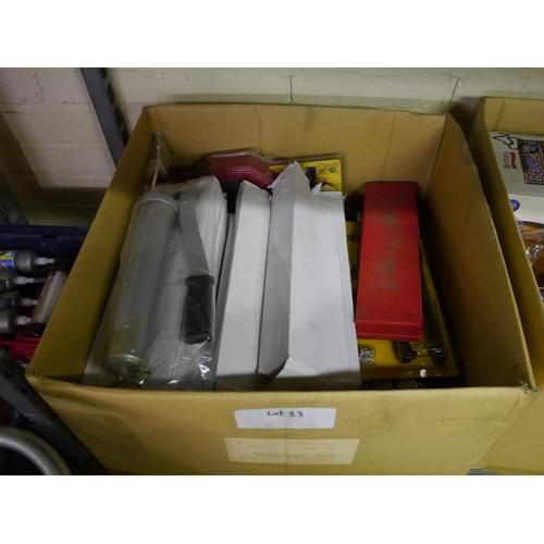 21 - Box of mixed tools, cable ties and grease guns...