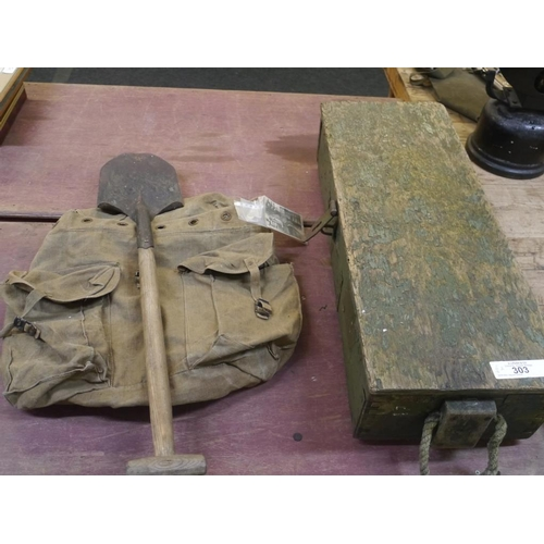 11 - WWII Box, bag and shovel...