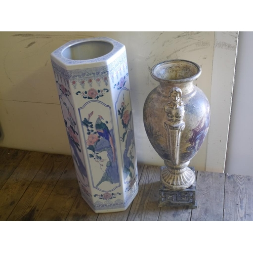 8 - Oriental style umbrella stand and urn...