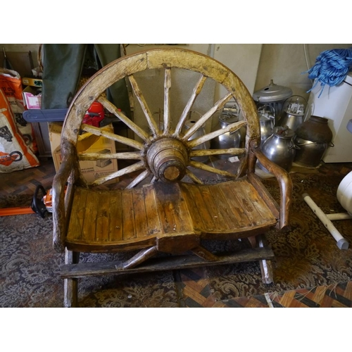 4 - Cart wheel garden bench...