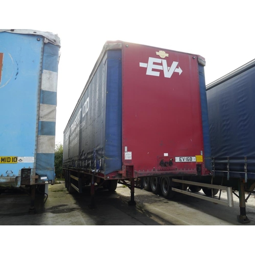 12 - Crane Freuhauf tri axle trailer, curtainside, 45ft, air suspension, test expiry January 2017....