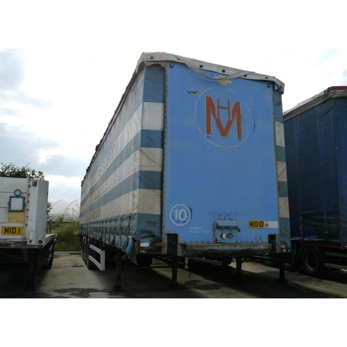 13 - Crane Freuhauf tri axle trailer, curtainside, 45ft, air suspension, test expiry March 2018....