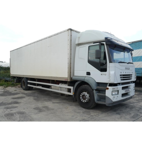23 - Iveco Strailes box van, 18Ton, 30ft, new clutch fitted approx. 500 miles, with tail lift, MOT expiry...