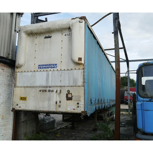 7 - DonBur tri axle trailer, curtainside, 45ft, air suspension, 1991....