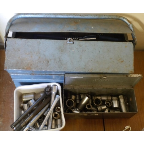 206 - Toolbox and contents, 2 boxes of sockets...