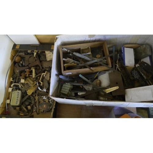 207 - 2 Boxes of door handles, brackets etc...