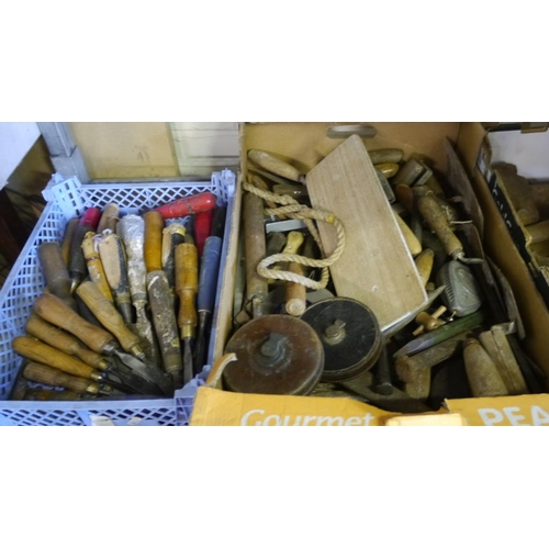 212 - 2 Boxes tools including tape measures and chisels...