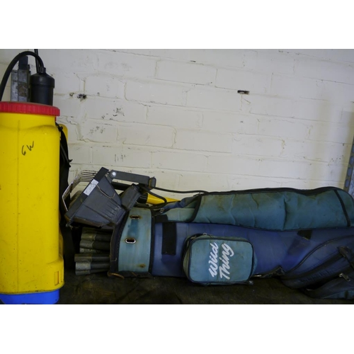 214 - Knapsack sprayer, drain rods and floodlight...