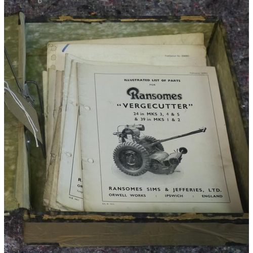 33 - Quantity of Ransomes mower spare parts/instruction books...