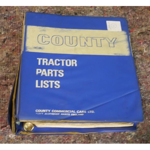 36 - County Tractor spare parts list in ex County dealer folder...