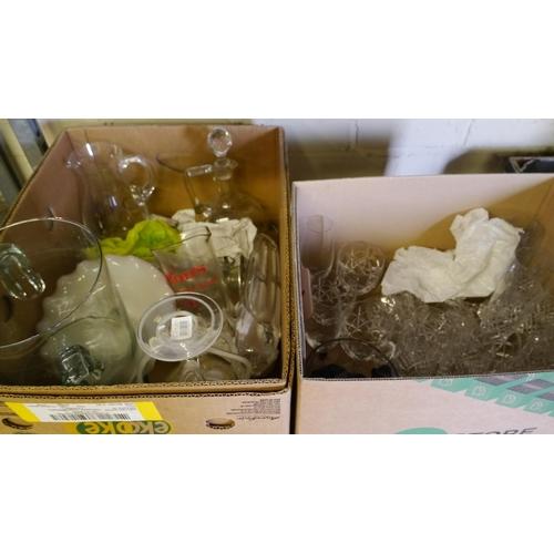 19 - 2 Boxes of glassware...
