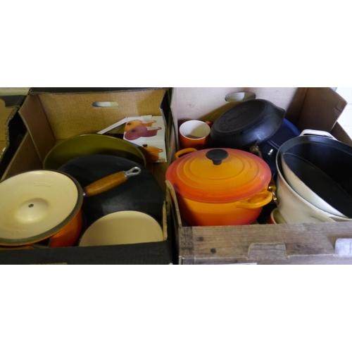 22 - 2 Boxes of mixed Le Crueset pans/pots...