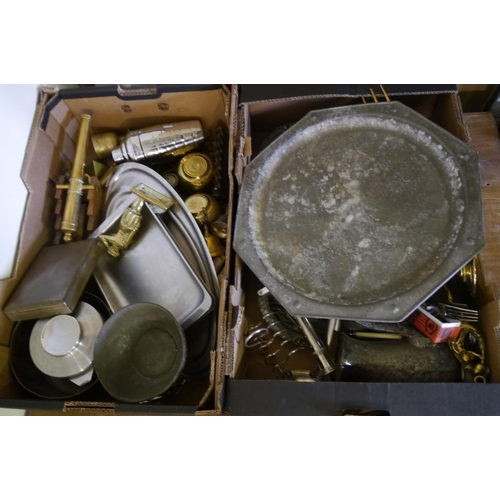 8 - 2 Boxes of brass and other metalware...