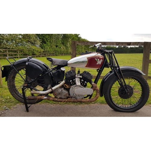 588 - Matchless 1000cc V Twin motorcycle. 1938. Rebuilt engine, rechromed and restored tank c/w old logboo...