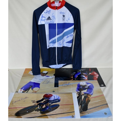 1 - Signed Limited Edition Team GB cycling jersey 18/40 and four signed Limited Edition photographs of C...