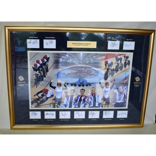 10 - London 2012 British track cycling team framed montage. Captures imagery from each of the 7 gold meda...