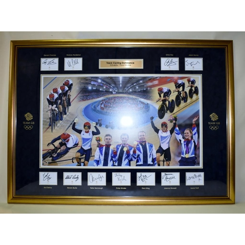 11 - London 2012 British track cycling team framed montage. Captures imagery from each of the 7 gold meda...