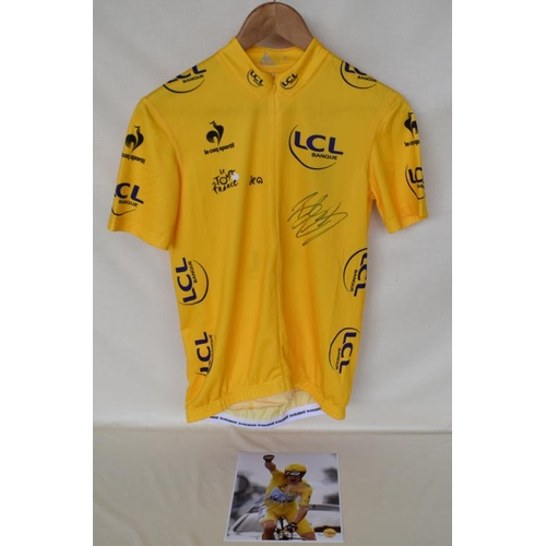 14 - 2012 Tour de France replica yellow jersey signed by Bradley Wiggins with limited edition signed phot...
