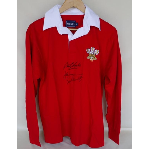 140 - Official Wales rugby shirt signed by Phil Bennett, JPR Williams and Gareth Edwards...