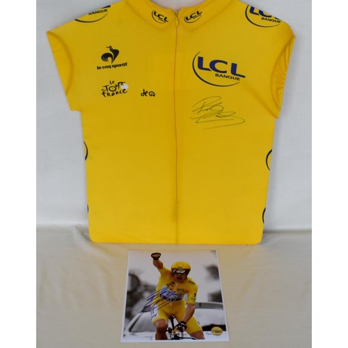 15 - 2012 Tour de France replica yellow jersey signed by Bradley Wiggins with limited edition signed phot...