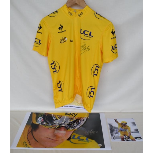 17 - 2012 Tour de France Team Sky 2012 replica yellow jersey signed by Bradley Wiggins with limited editi...