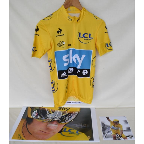 18 - 2012 Tour de France Team Sky 2012 replica yellow jersey signed by Bradley Wiggins and two signed lim...