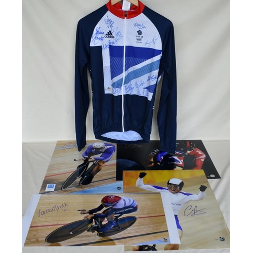 2 - Signed Limited Edition Team GB cycling jersey 20/40 and four signed Limited Edition photographs of C...