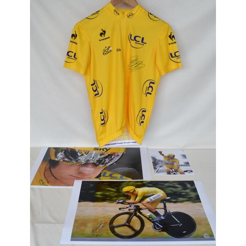 20 - Tour de France 2012 replica yellow jersey signed by Bradley Wiggins and three signed limited edition...