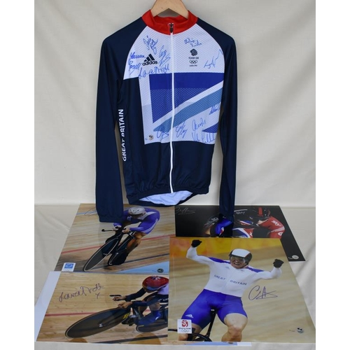 21 - Signed Limited Edition Team GB cycling jersey 19/40 and four signed Limited Edition photographs of C...