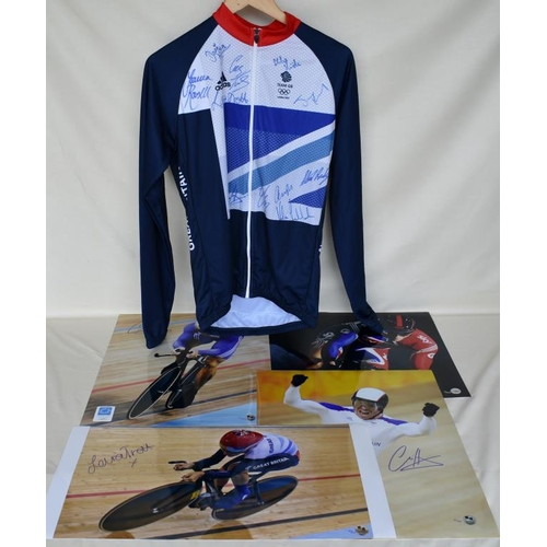 22 - Signed Limited Edition Team GB cycling jersey 10/40 and four signed Limited Edition photographs of C...