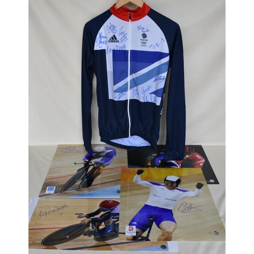 23 - Signed Team GB cycling jersey and four signed Limited Edition photographs of Chris Hoy and Laura Tro...