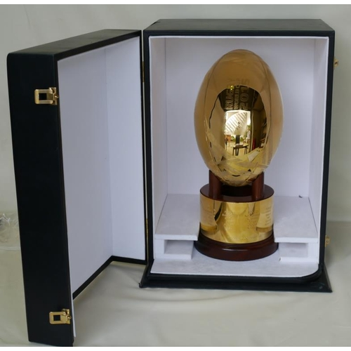 235 - 2015 Rugby World Cup gold plated final match ball art piece and purpose built casing. Handcrafted by...