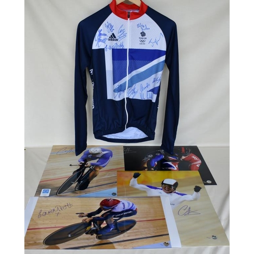 24 - Signed Team GB cycling jersey and four signed Limited Edition photographs of Chris Hoy and Laura Tro...