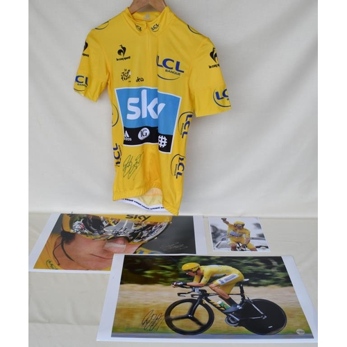 26 - 2012 Tour de France team Sky replica yellow jersey signed by Bradley Wiggins and three signed limite...