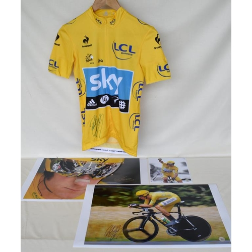 27 - 2012 Tour de France team Sky replica yellow jersey signed by Bradley Wiggins and three signed limite...