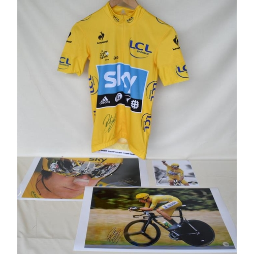 28 - 2012 Tour de France team Sky replica yellow jersey signed by Bradley Wiggins and three signed limite...