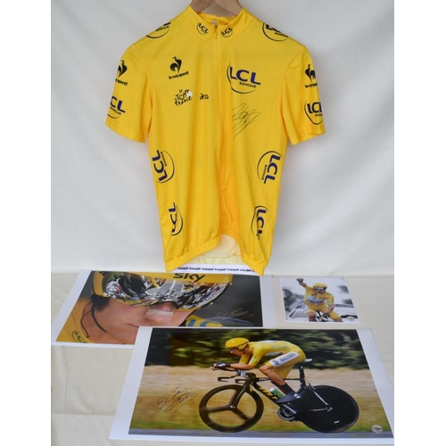 29 - 2012 Tour de France replica yellow jersey signed by Bradley Wiggins and three signed limited edition...