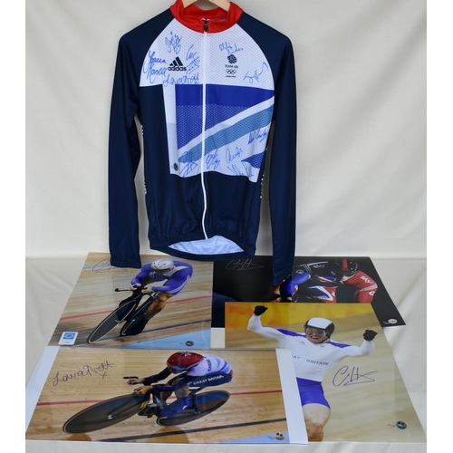 3 - Signed Limited Edition Team GB cycling jersey 17/40 and four signed Limited Edition photographs of C...